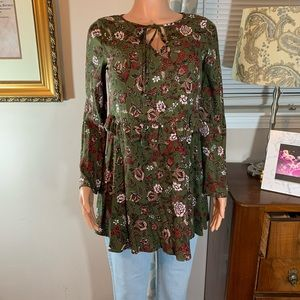Copper Key Cottagecore green floral print tunic